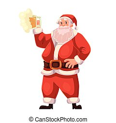 Full length portrait of Santa raising a beer glass