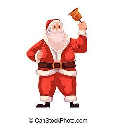 Full length portrait of Santa ringing a bell