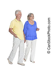 portrait of  senior couple holding hands