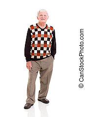 senior man - full length portrait of senior man on white...