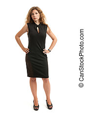 Full length portrait of serious business woman