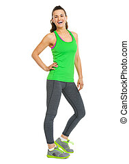 Full length portrait of smiling fitness young woman