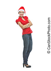 Full length portrait of smiling young woman in Santa hat