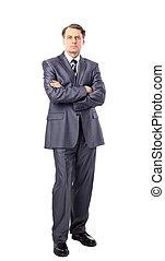 full-length portrait of stylish businessman. isolated on white background