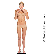 Full length portrait of surprised young woman in lingerie standing on scales