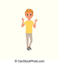 Full-length portrait of teen boy in yellow t-shirt and beige pants. Cartoon kid character with smiling face expression standing and waving hands. Flat vector design