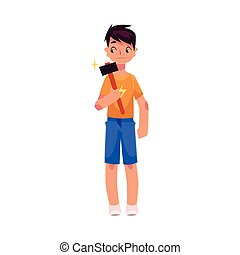 Full length portrait of teenage boy holding a hammer