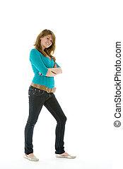Full Length Portrait Of Teenage Girl