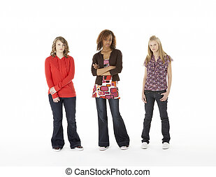 Full Length Portrait Of Three Teenage Girls