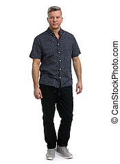 full length portrait of trendy middle aged man.