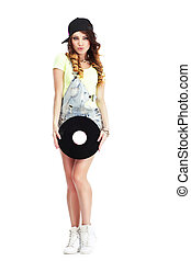 Full  Length Portrait of Woman in Kepi and Jeans with Vinyl Record