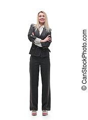 full-length portrait of young business woman
