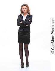 full-length portrait of young business woman.