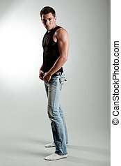 Full length portrait of young male model