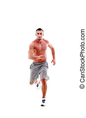 Full length portrait of young man athlete doing running exercise