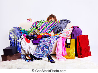 shopaholic woman - full-length portrait of young shopaholic...