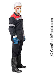 worker wearing safety protective gear - Full length portrait...
