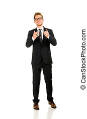Full length portrait on young handsome man.