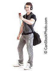 Full length portrait school boy phone isolated