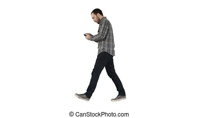 Attractive man with short dark hair checking pictures after...