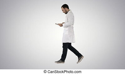 Medical care and healthcare Doctor use tablet checking on...