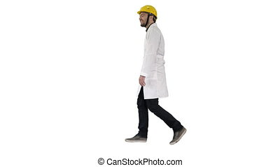 Walking engineer on white background. - Full length portrait...