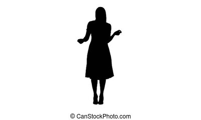 Silhouette Blonde lady dancing in pink dress.