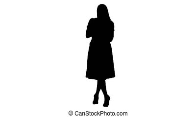 Silhouette Cute girl full length in pink dress talking to...