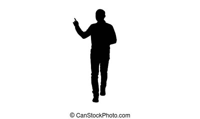 Silhouette Walking man pointing and explaining something. -...