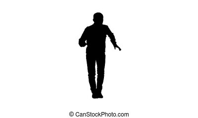 Silhouette Young man in a casual outfit walking and dancing....