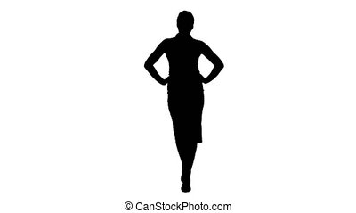 Silhouette Young pretty woman model wolking with her hands...