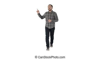 Walking man pointing and explaining something on white...