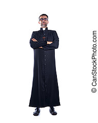 Full length priest crossed arms with black soutane