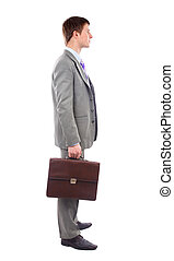 Full length profile of a middle aged business man with coat over shoulder against white