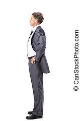 Full length profile of a middle aged business man