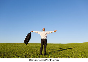 Full length rear view of businessman with arms outstretched standing on grassy field against clear sky