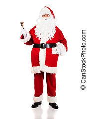 Full length Santa Claus holding a bell
