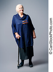 full length senior woman