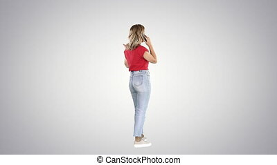 Female in casual having a call on gradient background. -...