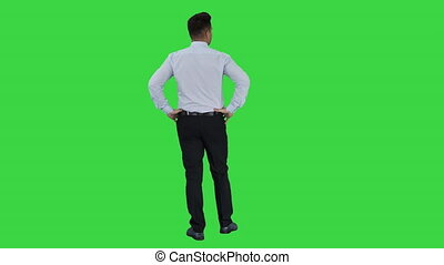 Man in blue shirt looking around checking something with hands on his hips on a Green Screen, Chroma Key.