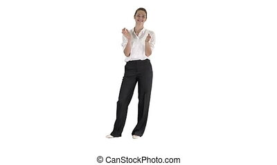 Business woman clapping on white background. - Full length...