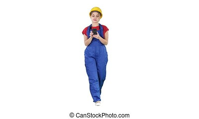 Female worker walking and using phone on white background. -...