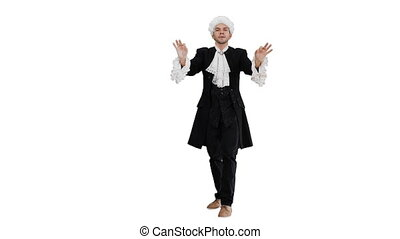 Full length shot. Front view. Man dressed like Mozart expressively finishing conducting while looking at camera on white background. Professional shot in 4K resolution. 047. You can use it e.g. in your medical, commercial video, business, presentation, broadcast
