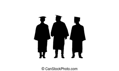Full length shot. Front view. Silhouette Three male students in graduation robes and mortar boards warming up while waiting. Professional shot in 4K resolution. 045. You can use it e.g. in your medical, commercial video, business, presentation, broadcast