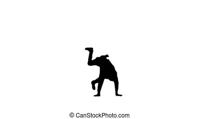 Full length shot. Front view. Silhouette Young male doctor in white robe and protective cap doing backspin breakdance and looking at camera at the end. Professional shot in 4K resolution. 045. You can use it e.g. in your medical, commercial video, business, presentation, broadcast