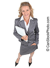 Full length shot of a woman with a laptop