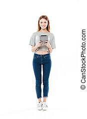Full-length shot of woman with tablet