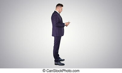 Businessman is counting money euros on gradient background....