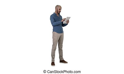 Handsome arabic business man using tablet on white background.