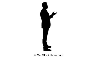 Silhouette Business man clapping hands.